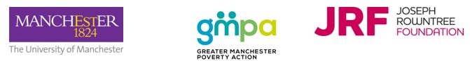 University of Manchester, GMPA and JRF logos for GM Poverty Action